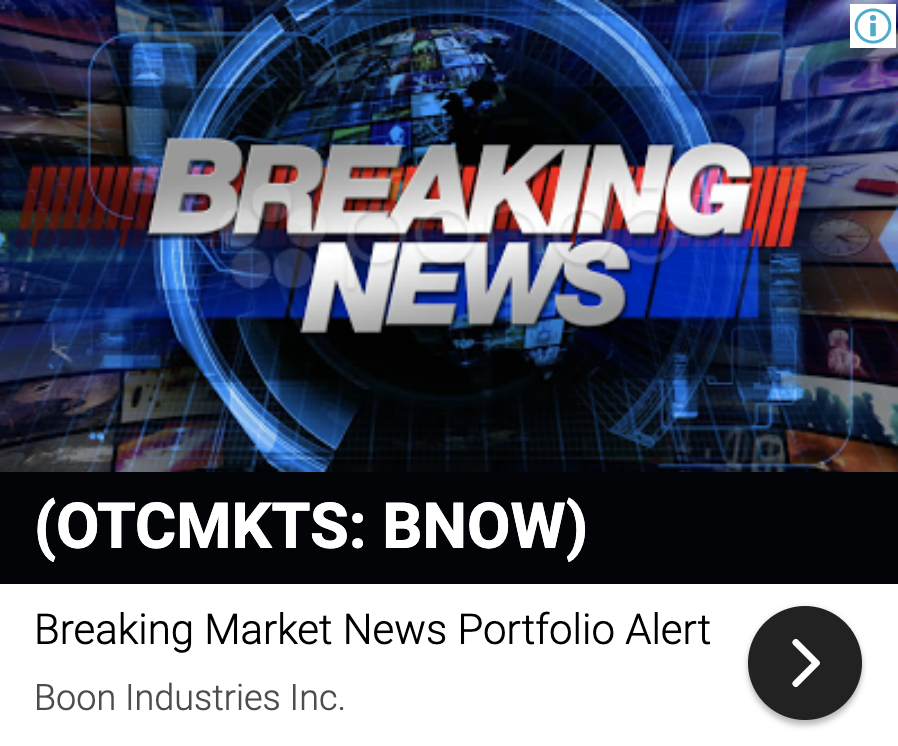 stock market news, update boon industries chairman letter 25m projectio 8494879192494931